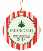 Candy Cane Stripes Personalized Christmas Ornament