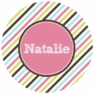 Candy Stripes Personalized Kids Plate