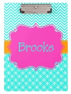Caroline Aqua Chevron Personalized Clipboard