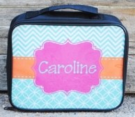 Caroline Aqua Chevron Personalized Lunch Box