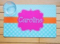 Caroline Aqua Chevron Personalized Placemat