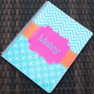 Caroline Aqua Chevron Personalized Spiral Notebook