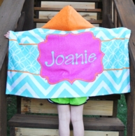 Caroline Chevron Print Personalized Hooded Towel