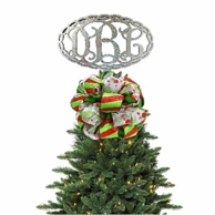 Chain Oval Design Monogrammed Christmas Tree Topper