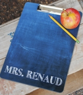 Chalkboard Print Personalized Teacher Clipboard