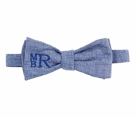 Chambray Monogrammed Bow Tie