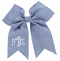 Chambray Monogrammed Hair Bow