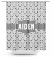 Charcoal Antlers Personalized Shower Curtain