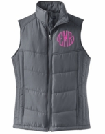 Charcoal Gray Monogrammed Quilted Puffer Vest
