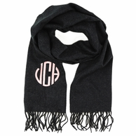 Charcoal Monogrammed Cashmere Soft Scarf