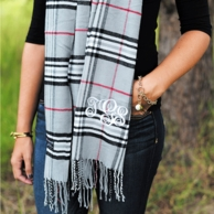Charcoal Plaid Cashmere Soft Monogrammed Scarf