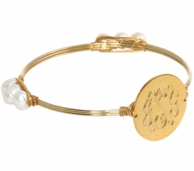 Charlotte Monogrammed Gold Wire Wrapped Bangle Bracelet