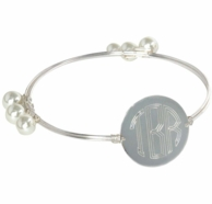 Charlotte Silver Monogrammed Wire Wrapped Bangle Bracelet