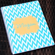Chevron Aqua Orange Personalized Spiral Notebook