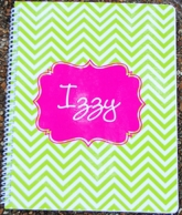 Chevron Lime & Pink Personalized Spiral Notebook