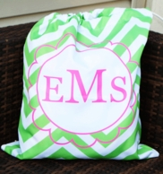 Chevron Monogram Laundry Bag