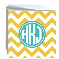 Chevron Monogrammed Sticky Note Cube - CHOOSE YOUR COLORS!