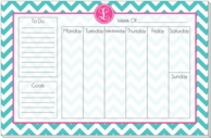 Chevron Monogrammed Weekly Calendar Pad - CHOOSE YOUR COLORS!