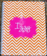 Chevron Orange & Pink Personalized Spiral Notebook