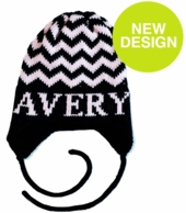 Chevron Personalized Knit Hat with Earflaps