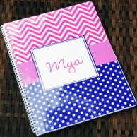 Chevron Pink & Navy Personalized Spiral Notebook