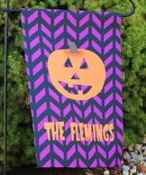 Chevron Pumpkin Personalized Halloween Garden Flag