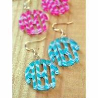 Chevron Round Monogram Earrings - CHOOSE YOUR COLOR!