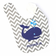 Chevron Whale Personalized Bib