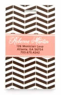 Chocolate Striped Chevron Personalized Luggage Tags - SET OF 2