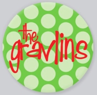 Christmas Polkadots Lime Personalized Holiday Plate