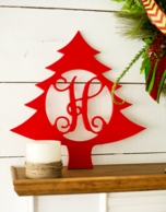 Christmas Tree Wood Wall Monogram Decor
