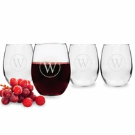 Circle Initial Stemless Wine Glasses {Set of 4}