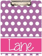 Classic Polkadots Personalized Clipboard - CHOOSE YOUR COLORS!