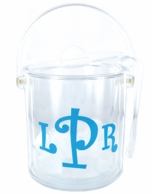 Clear Acrylic Monogrammed Ice Bucket with Tongs Set