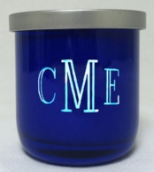Cobalt Etched Monogram Candle with Lid