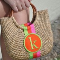 Cocktail Size Monogrammed Basket Bag