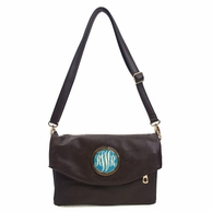 Coffee Brown Monogrammed Samantha Clutch Handbag