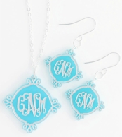 Compass Arabesque Acrylic Monogram Necklace