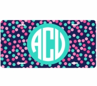 Confetti Dots Monogrammed Car Tag License Plate