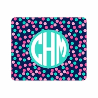 Confetti Dots Monogrammed Mouse Pad