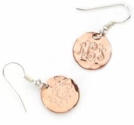 Copper Monogram Hammered Earrings on French wires