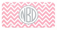 Light Pink & Gray Chevron Monogrammed Car Tag