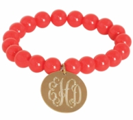 Coral Chloe Monogrammed Stretch Beaded Bracelet