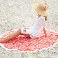 Coral Cove Monogrammed Round Beach Blanket Towel