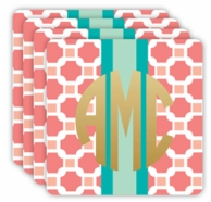 Coral Geographic Metallic Monogram Coasters - SET OF 4