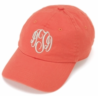 Coral Monogram Baseball Hat