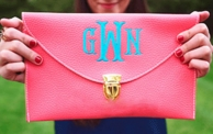 Coral Monogrammed Leather Envelope Clutch / Chain Purse