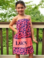 Coral & Navy Cheetah Personalized Girls Spa Wrap