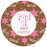 Cowgirl Personalized Kids Plate