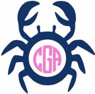 Crab Monogram Vinyl Decal